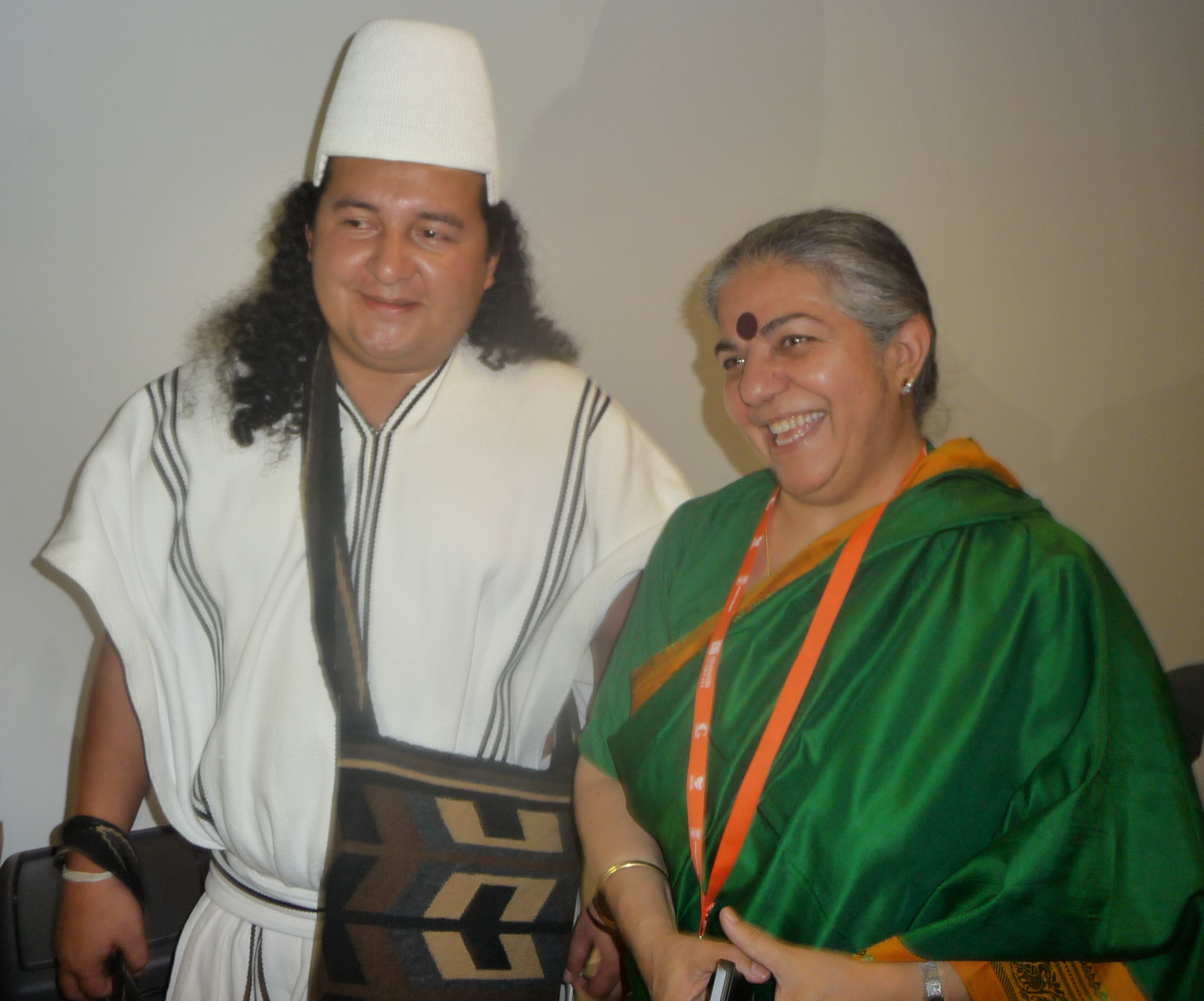 Meeting with Arhuaco Leader José Luis Rosado and Vandana Shiva, Medellín, Colombia 2015